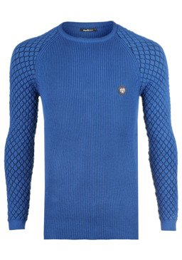 Pánský svetr CIPO BAXX CP186 SAXE BLUE 0bf39fb544